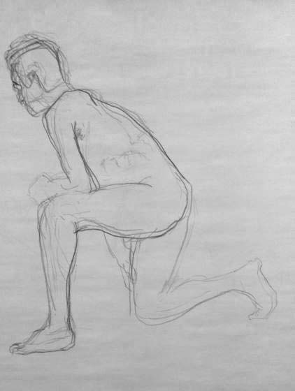 1 homme accroupi art dessin