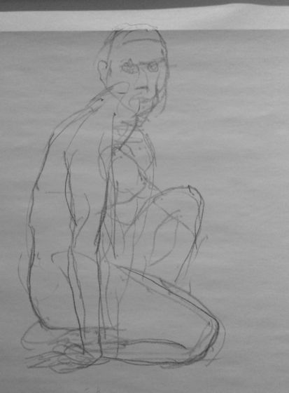 Homme assis croquis