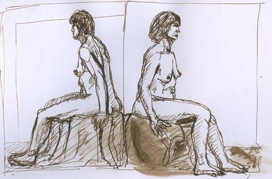 2 croquis poses assises