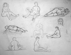 9 dessins de nu artistique avec Geneviève