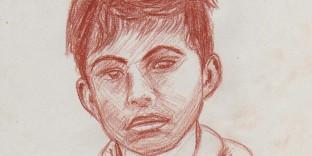 Dessin portrait à la sanguine d'un enfant pris à Solo java indonésie d'après photo A4 21x29.7 cm. Dessin du portraitiste dessinateur Fabien Lesbordes. Paris