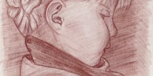 Lea profil dessin d'enfant portrait à la sanguine d'après photo A4 21 x 29.7 cm (vendu) papier recyclé. Dessin du portraitiste dessinateur Fabien Lesbordes. Paris