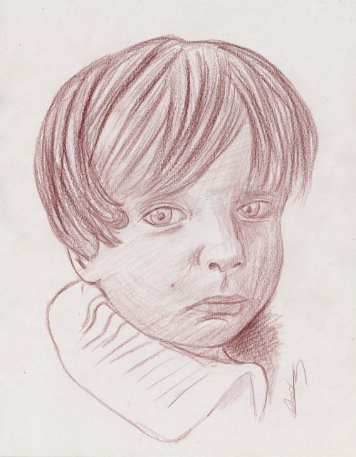 Portrait enfant sanguine Clément A4 papier recyclé. Dessin du portraitiste dessinateur Fabien Lesbordes. Paris