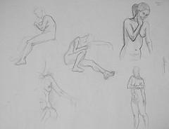 5 dessins de Fabienne, modèle-vivant