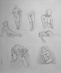7 dessins de nu artistique Marie C modéle vivant à la mine de plomb