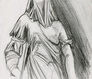 Dessin à la mine de plomb de drapé féminin