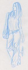 Dessin de mode pantalon dessiné au crayon bleu