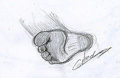 Dessin un pied homme exécuté à la mine de plomb