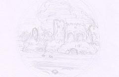Dessin composition paysage ruines et rivière
