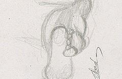 Croquis étude de pieds d'homme, esquisse crayonné rapide