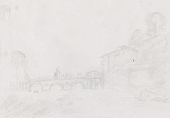 Dessin préparatoire au trait pont de Florence d'après Le Lorrain