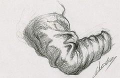 Dessin étude de drapé bras droit