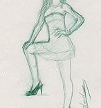 Mode : femme posant debout croquis dessiné au crayon vert
