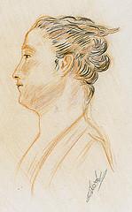 Un portrait de femme dessiné à la manière de Watteau