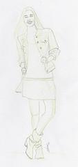Croquis de mode stylisme au crayon vert