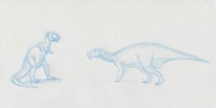 Croquis de dinosaure Tyrannosaurus Rex et dinosaure Iguanodon
