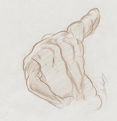 Croquis Etude Des Muscles Du Dos Au Crayon Brun