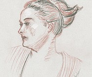 Dessin dessiné au pastel sec de femme avec un chignon