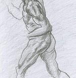 Copie dessin dos d'homme à la manière de Michel-Ange