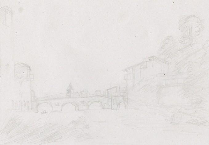 Dessin Ponte Cestio d'après Claude Gellé dit le Lorrain, Tibre, Florence, Italie par Fabien Lesbordes