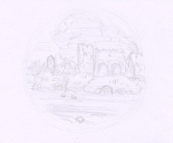 """Dessin """"Ruines et riviere"""" d'après Gottfried Wals, éléve de le Lorrain par Fabien Lesbordes"""
