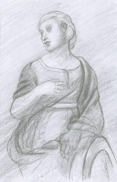 """Dessin à la mine de plomb """"Catherine d'Alexandrie"""" d'après Raphaël, par Fabien Lesbordes"""