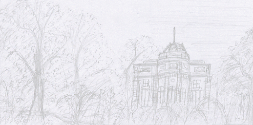 Composition dessin du château de Bagatelle au crayon. © Fabien Lesbordes