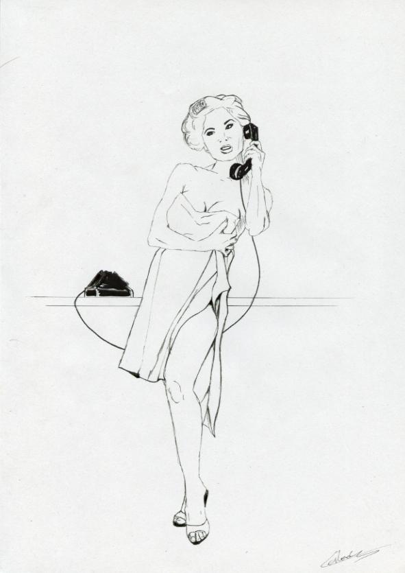 Illustration série Pin ups Lee au téléphone Illustration au feutre noir. Format A4 21 x 29,7 cm illustrateur © Fabien Lesbordes Artist Vectanim 2011. Paris, France.