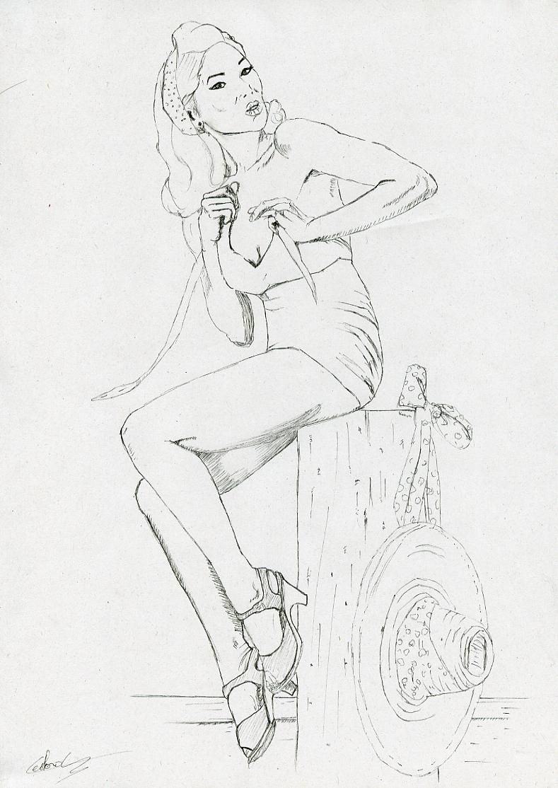 Illustration série Pin up Lee au chapeau Illustration au feutre noir. Format A4 21 x 29,7 cm illustrateur © Fabien Lesbordes Artiste Vectanim 2011. Paris, France.