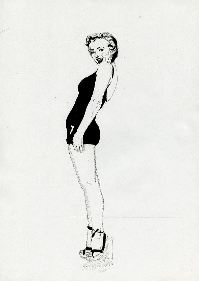 Illustration série Pin up Marilyn Monroe la nageuse Illustration au feutre noir. Format A4 21 x 29,7 cm illustrateur © Fabien Lesbordes Artiste Vectanim 2011. Paris, France.