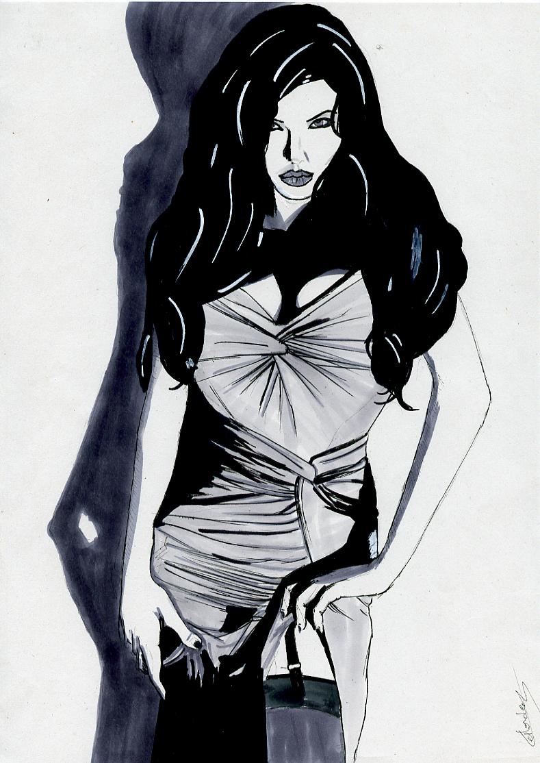 Illustration série Pin up Angelina Jolie Illustration au feutre noir et feutres gris. Format A4 21 x 29,7 cm illustrateur © Fabien Lesbordes Artiste Vectanim 2011. Paris, France.