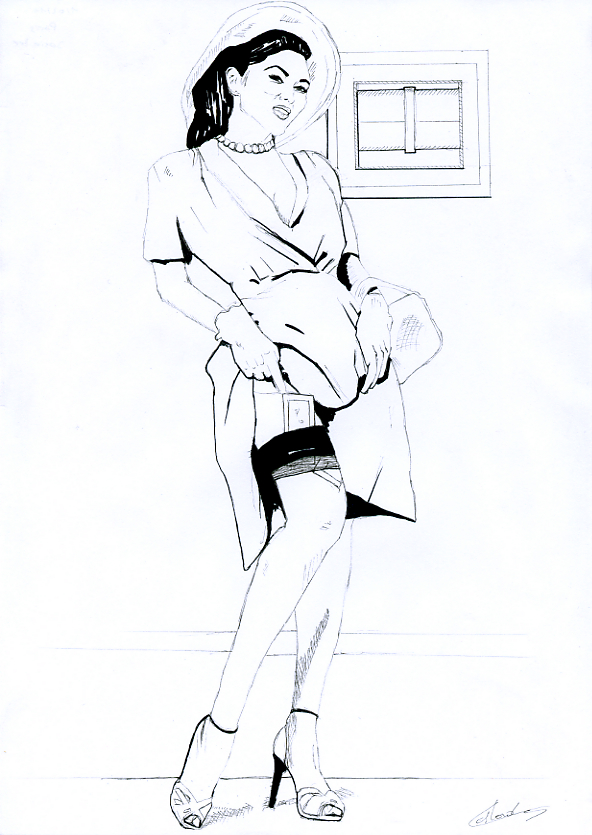 Illustration série Pin up Lee et le coffre Illustration au feutre noir. Format A4 21 x 29,7 cm illustrateur © Fabien Lesbordes Artiste Vectanim 2011. Paris, France.