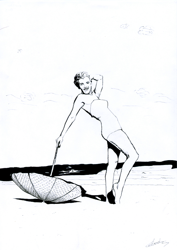 Illustration série Pin up Marilyn Monroe et le parasol Illustration au feutre noir. Format A4 21 x 29,7 cm illustrateur © Fabien Lesbordes Artiste Vectanim 2011. Paris, France.