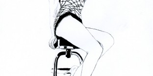 Illustration série Pin up Marilyn Monroe sur un tabouret Illustration au feutre noir. Format A4 21 x 29,7 cm illustrateur © Fabien Lesbordes Artiste Vectanim 2011. Paris, France.