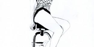 Illustration série Pin up Marilyn Monroe sur un tabouret Illustration au feutre noir. Format A4 21 x 29,7 cm illustrateur © Fabien Lesbordes Artiste Vectanim 2011. Paris, France.