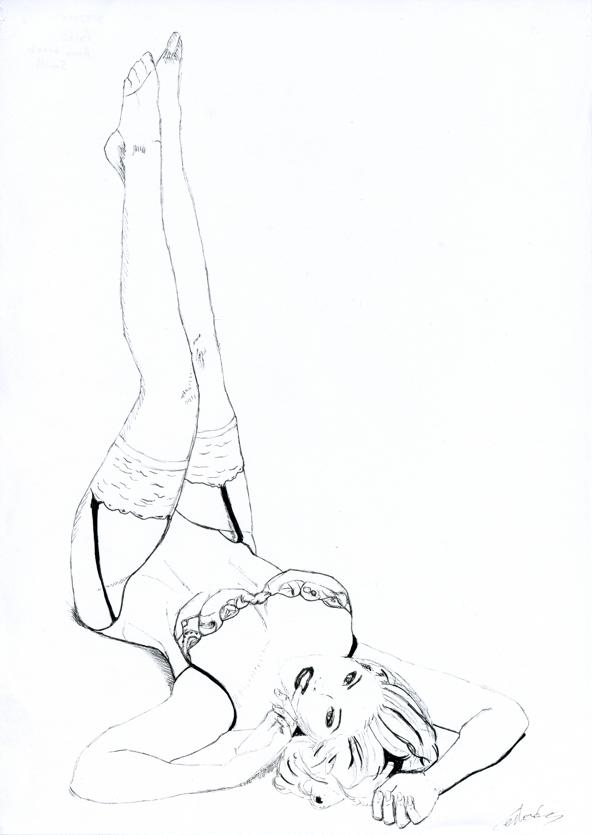 Illustration série Pin up Anna Nicole Smith en bas Illustration au feutre noir. Format A4 21 x 29,7 cm illustrateur © Fabien Lesbordes Artiste Vectanim 2011. Paris, France.