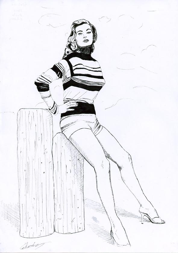 Illustration série Pin up Anita Ekberg apuyée Illustration au feutre noir. Format A4 21 x 29,7 cm illustrateur © Fabien Lesbordes Artiste Vectanim 2011. Paris, France.