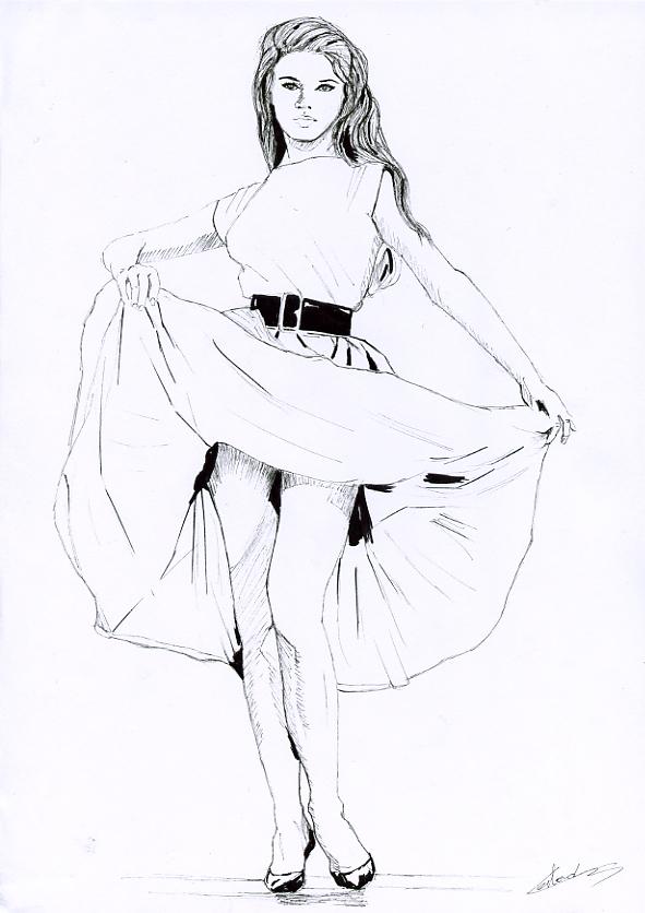 Illustration série Pin up Brigitte Bardot en jupe Illustration au feutre noir. Format A4 21 x 29,7 cm illustrateur © Fabien Lesbordes Artiste Vectanim 2011. Paris, France.