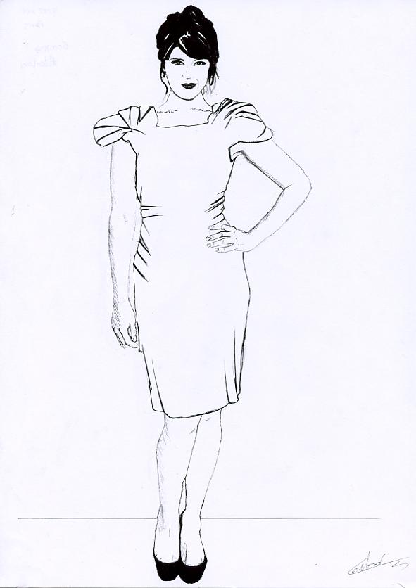 Illustration série Gemma Arterton Illustration au feutre noir. Format A4 21 x 29,7 cm illustrateur © Fabien Lesbordes Artiste Vectanim 2011. Paris, France.