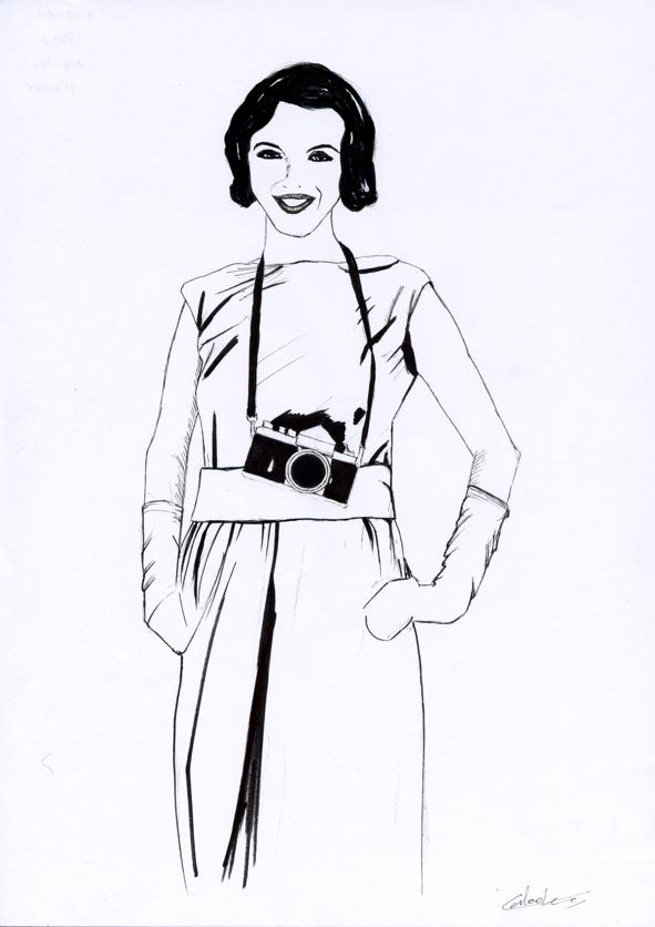 Illustration série Marilyn Monroe et l'appareil photo Illustration au feutre noir. Format A4 21 x 29,7 cm illustrateur © Fabien Lesbordes Artiste Vectanim 2011. Paris, France.
