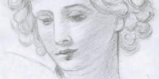 Dessin copie de maître visage d'Ange d'après Pietro da Cortona. © Fabien Lesbordes 2011