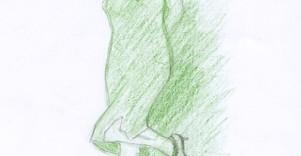 Croquis de mode crayon de couleur vert crayon à papier © Fabien Lesbordes dessinateur Vectanim 2011