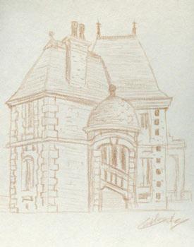 Dessin d'architecture maison de parc culturel de Rentilly © Fabien Lesbordes dessinateur