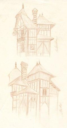 2 croquis d'architecture maisonnette parc de Rentilly © Fabien Lesbordes dessinateur