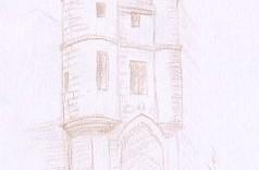 Croquis dessin de la porte de l'hôtel de Clisson © Fabien Lesbordes dessinateur