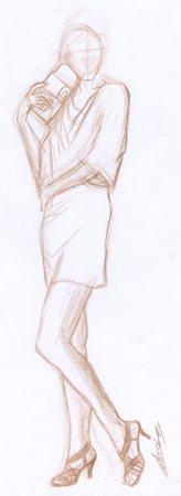 Stylisme crayonné croquis crayon brun © Fabien Lesbordes dessinateur