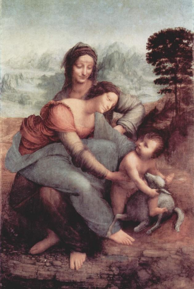 Tableau peinture de Léonard de Vinci Sainte Anne la vierge à l'enfant