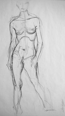 Croquis de nu au fusain Caroline 1 © Fabien Lesbordes dessinateur