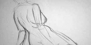 Esquisse du modèle-vivant Maria dessinée au fusain