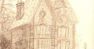 Dessin au crayon brun d'une maison de 1780 au Vesinet © Fabien Lesbordes dessinateur